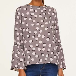 Ann Taylor Loft Dotted Bell Sleeve Blouse Sz Large
